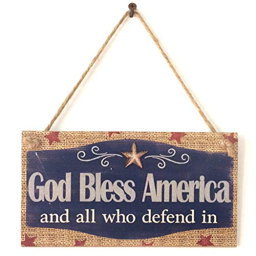 yangerous American Independence Day Decoration, Rustic Wooden Hanging Plaque Sign Board God Bless America Room Wall Door Home Decoration Gift