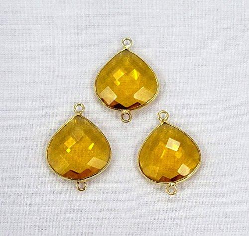 (Devgemsandjewels 3pcs Honey Citrine Quartz Heart Shape Hydro Glass 16 mm 24k Gold Plated Double Bail Gemstone Connector.)