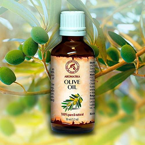 Aceite de Oliva 50ml - Olea Europaea Fruit Oil - España - Presión en Frío - 100% Puro y Natural - Botella de Vidrio - Cuidado Intensivo para el Rostro ...