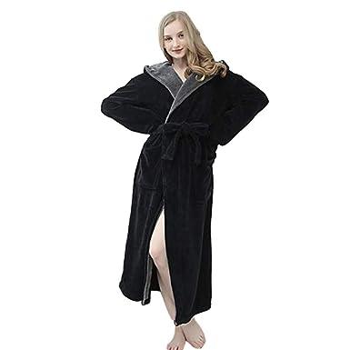 f8261c2e53 Ladies Dressing Gown Fluffy Super Soft Hooded Bathrobe for Women Plush  Fleece Perfect for Spa Gym