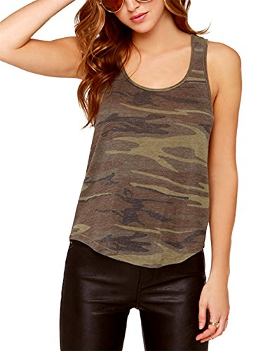 (HAOYIHUI Women's Military Camouflage Scoop Neck Sleevelss Tank Top(L)