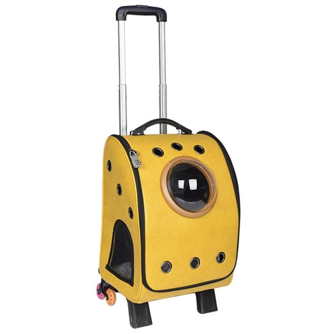 Eroscat ペットポータブルキャリアスペースカプセルバックパック、ペットバブルトラベラーナップザック複数の通気孔防水軽量ハンドバッグ猫用小型犬&小柄な動物 (Color : 黄) 黄