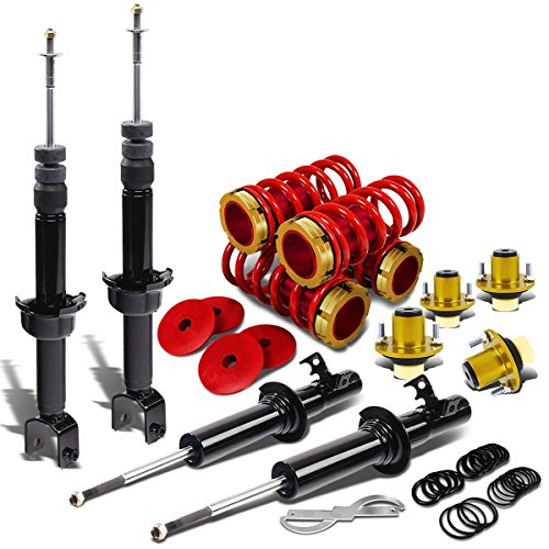 - DNA Motoring Black Shock Absorbers+Red Coilover+Gold Top Hat Mount Kit for Civic/CRX