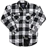 Smith's Workwear Men's Warm Winter Thermal Lined Flannel Shirt Jacket (X-Large, White/Black Buffalo Plaid)