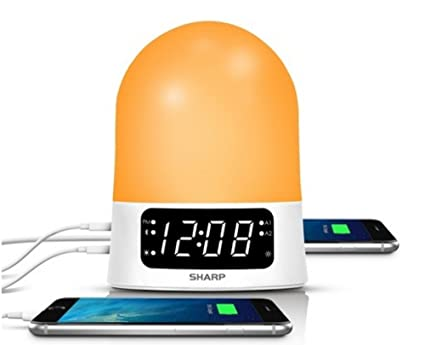 Sharp 43213-14176 Sunrise Simulator Alarm Clock with Blue Tooth Or USB ports White