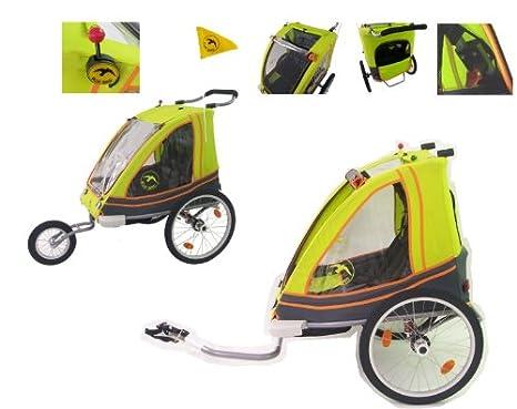 Blue Bird - Remolque infantil 2 en 1 para bicicletas (2 plazas)