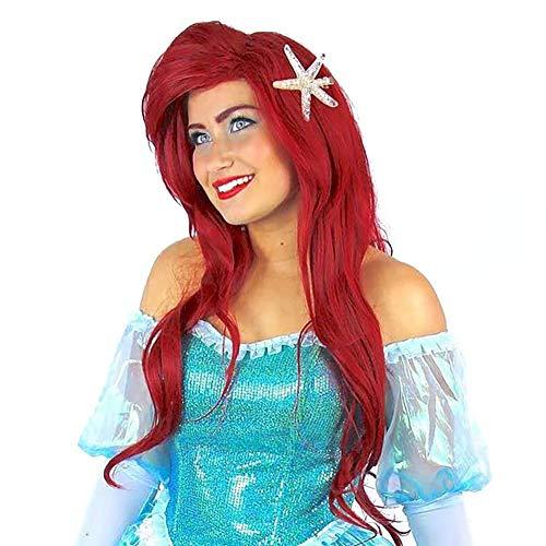 Curly Wavy Wine Red Women Hair Party Little Mermaid Ariel Cosplay Wig -