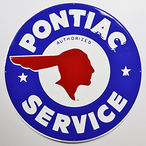 """Pontiac Service 24"""" XL Extra Large Embossed Metal Sign Blue - Perfect gift for any GTO Trans Am Tempest Le Mans Firebird Grand Prix Am G6 G8 Solstice owner - Classic Indian Head vintage retro dealership 1960's style 4 pre-drilled mounting holes"""