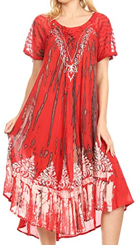 - Sakkas 16601 - Ronny Lace Embroidered Cap Sleeve Tie Dye Wash Caftan Dress/Cover Up - Red/Black - OS