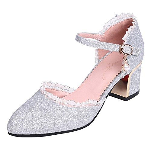 YE Damen Chunky Heels Pumps mit Blockabsatz und Riemchen Glitzer 5cm Absatz Hochzeit Schuhe Silber