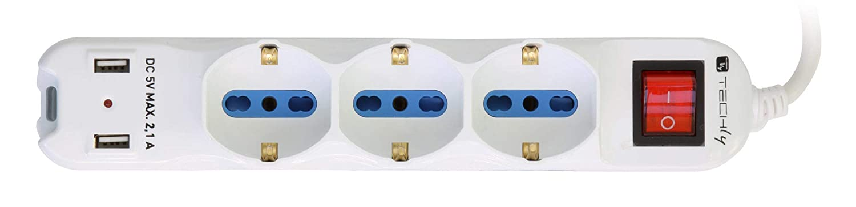 Techly Multipresa 6 Posti Italiana Bipasso con 2 Prese USB Bianca