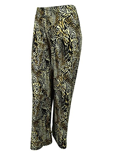 JM Collection Women's Animal Print Wide-Leg (0X, Mosaic Animal)