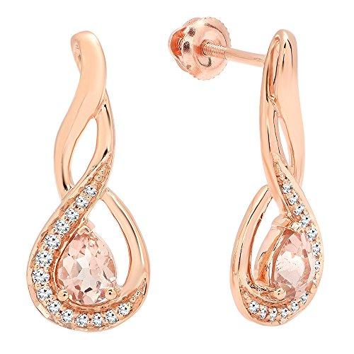 Diamond Dangle Fancy (10K Rose Gold 5X4 MM Each Pear Cut Morganite & Round Cut Diamond Infinity Drop Earrings)