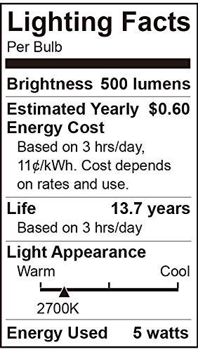 ENERGETIC 12 Pack Dimmable Candelabra Led Light Bulb, CA11 Shape,Flame Tip Style, 60 Watt Equivalent, 2700K Soft White, E12 Base, Led Candelabra Bulb,CRI 90+, UL Listed, Halloween Christmas Decoration
