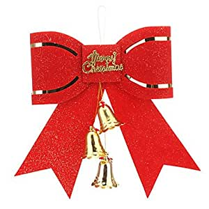 Red Bowknot with Bell Christmas Decoration Christmas Tree Ornament