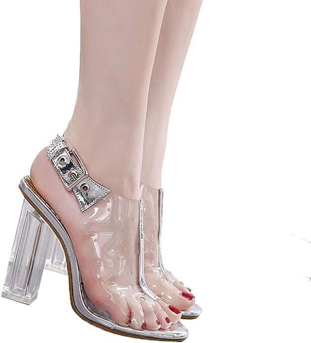 Chaussures /ÉT/é Nu Pieds Cristal /à Talons Carre Transparent /à Bouts Ouverts Plage Semelle Confortables Fete Soiree 2019 Dor/éEs Argent/éEs Sandales Femmes Talons