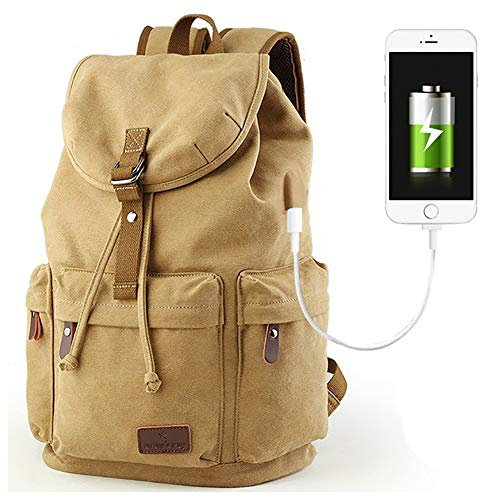 Beuniclo Canvas Backpack Travel Vintage Camping Rucksack Pack Casual Large Daypack (Khaki-new)