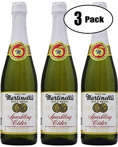 (Martinelli's Sparkling Apple Cider Juice, 25.4oz Glass Bottle (Pack of 3, Total of 76.2 Fl)
