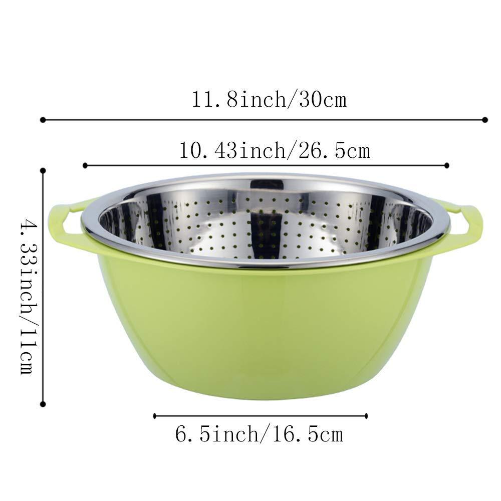 Colore Verde Contiup Set di colapasta Essenziale in Acciaio Inossidabile 18//8 con Ciotola di miscelazione Cestello Filtro autosvuotante con scolapasta Filtro con Bacino di plastica 2 Pezzi//Set