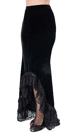 Larga falda negro Amara en tejido aterciopelado, con borde de ...