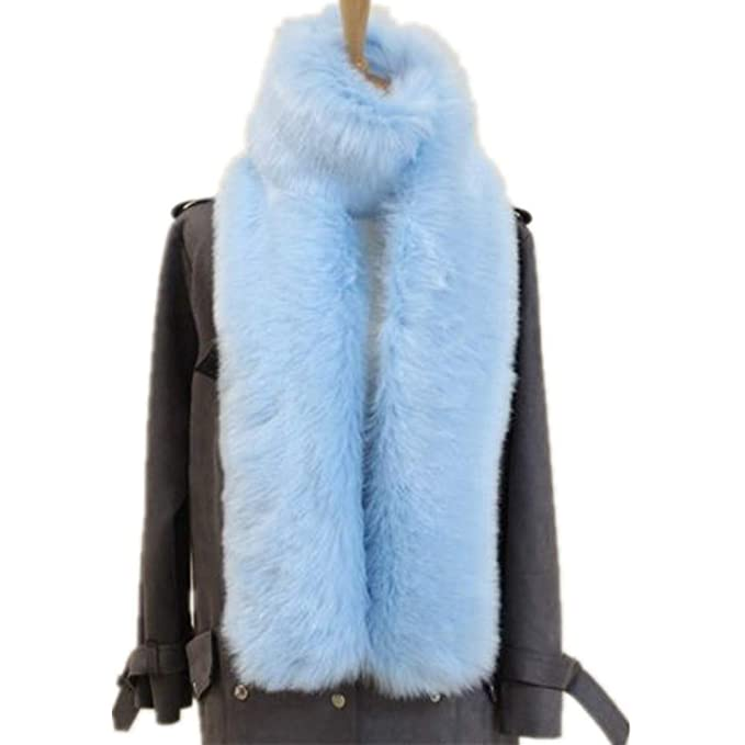 522bda316 Womens Faux Fox Fur Scarf Long Soft Collar Shawl Wrap Stole Fluffy Furry  Winter (Length 5.9