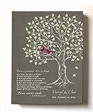 MuralMax - Personalized Family Tree & Lovebirds, Stretched Canvas Wall Art, Make Your Wedding Memorable, Unique Decor, Color Khaki # 1 - Size 12x16-30-Day