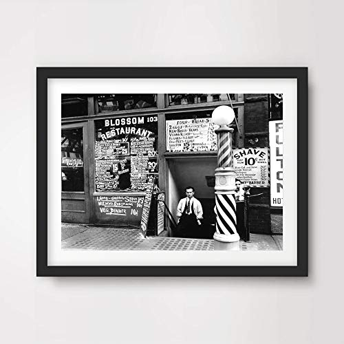 VINTAGE BLACK WHITE BARBER SHOP PHOTOGRAPH HAIR SALON HAIRDRESSING HAIRDRESSERS HAIRCUT ART PRINT Poster Home Decor Wall Picture A4 A3 A2 (10 Size Options) ()