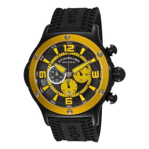 Stuhrling Original Men's 3CR.335665 Alpine Sport Quartz Chronograph Yellow Bezel Watch