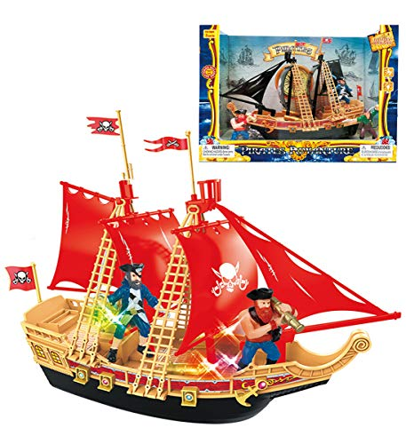 (Mozlly Pirate Ship Boat Play Set with Lights & Sound Durable Colorful Educational Learning Creative Action Figure Toy Pretend Play Accessories Ideal Gift Toys Games 11.5 Inch Colors May Vary)