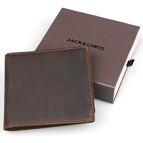 JackChris Mens Wallet Handmade Leather Bifold Wallet (Free Gift Box), NM8059