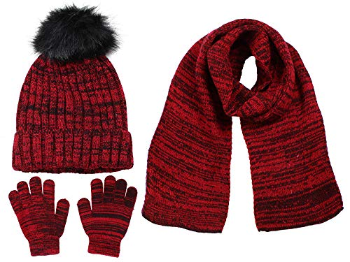 Polar Wear Boys Knit Hat, Scarf And Gloves Set With Fur Pompom- Red