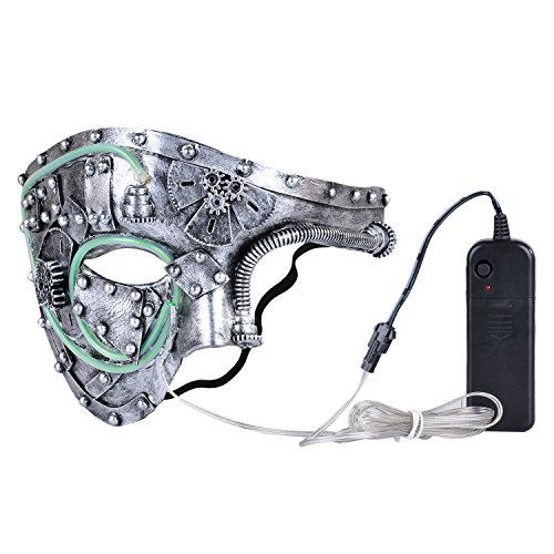 Phantom Mask, Coxeer Light Up Mask Men's Phantom Of The Opera Masquerade Mask Vintage Design (Light Up Phantom Costume)