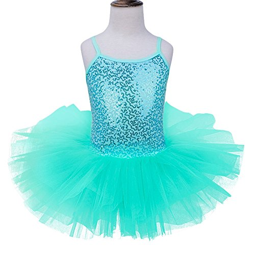 TiaoBug Girls Spaghetti Sequined Ballet Dance Leotard Tutu Dress Gymnastic Sparkly Fairy Dance Wear Costumes Turquoise 7-8
