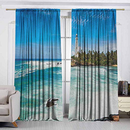 - VIVIDX Outdoor Patio Curtains,Lighthouse,Tropical Island Lighthouse with Palm Trees Rocks Wavy Seaside Beach Ocean,Insulated with Curtains for Bedroom,W55x39L Inches Blue White Green