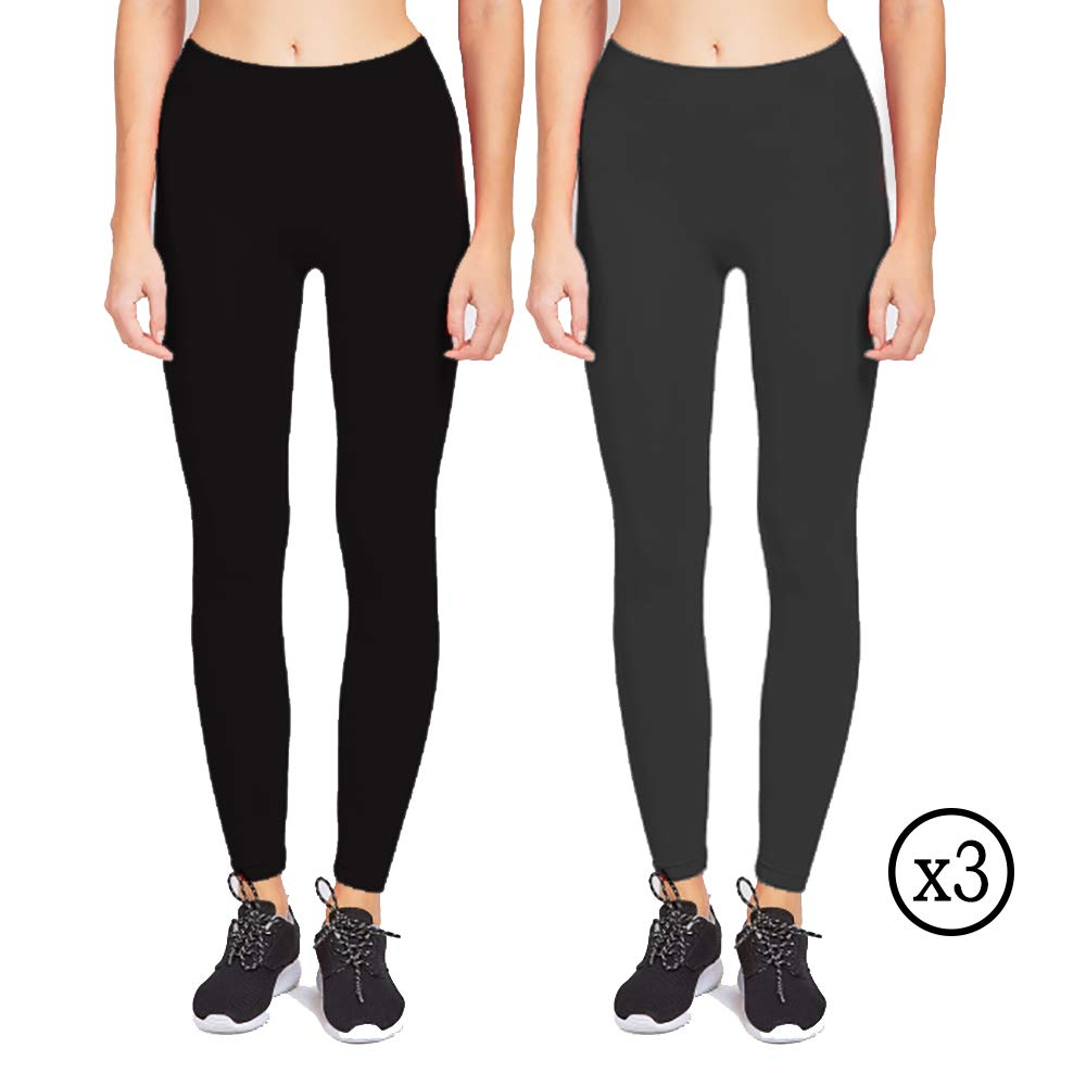 3 Black and 3 Grey Qraftsy Womens Premium Sportswear Full Length One Size Leggings  6 Pack