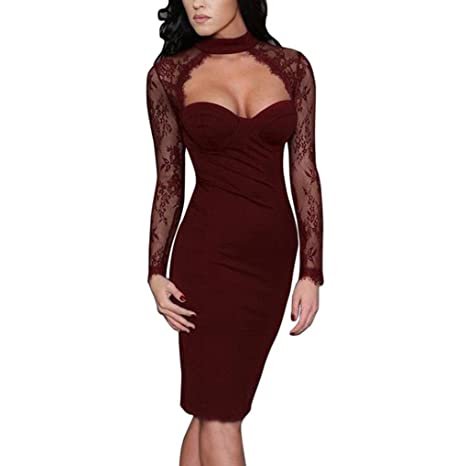 ❤Moda mujer sexy vestido bodycon damas Club partido vestido manga larga encaje mini Dress❤