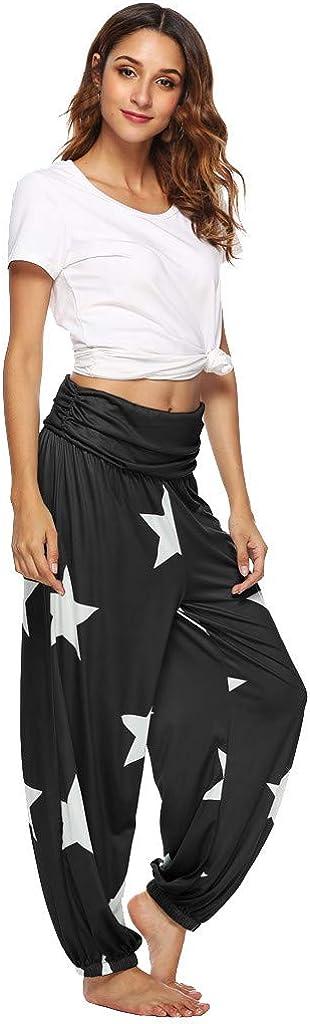 Women Mid Waist Sports Yoga Pants AmyDong Elastic Harem Trousers Stars Printed Loose Running Fitness Workout Pants