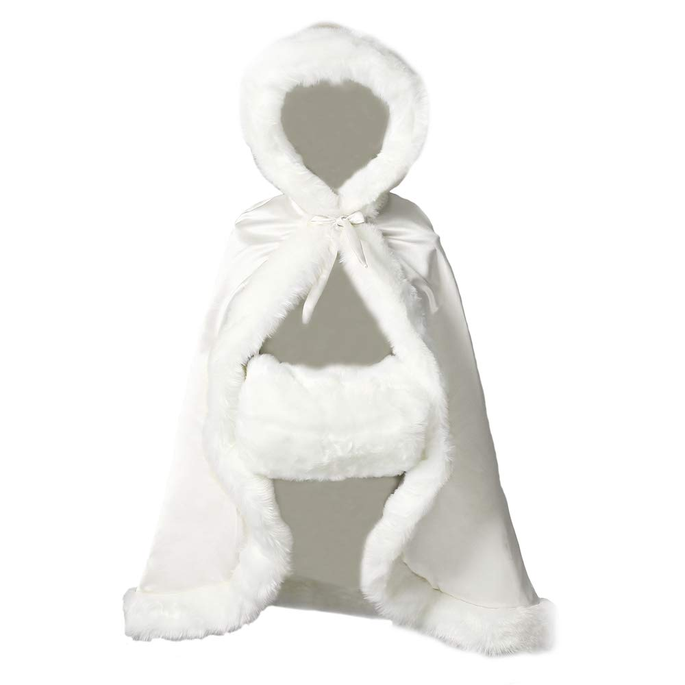 BEAUTELICATE Flower Girl Cape Winter Wedding Cloak for Infant Junior Bridesmaid Hooded Reversible Ivory 44 by BEAUTELICATE (Image #1)