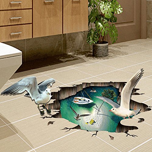 3D Style Seagulls Sea Boat Wall Sticker Paper Home Decal Removable Living Dinning Room Bedroom Kitchen Art Picture Murals Girls Boys kids Nursery Baby (Sea Gull Wall Decoration)