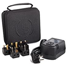 Yubi Power 200 Watts Step Down Voltage Converter Kit for International Travel to 220V plus adpter A I G E/F Ideal for Laptops Cameras Phones iPads etc In a Durable Traveling Cases