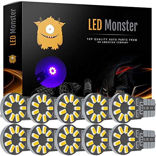 Outlaw Vintage Glove - LED Monster 10-Pack Purple 18-SMD LED Light Bulb for Turn Signal License Plate Interior Map Dome Side Marker Light 194 168 2825 175 192 W5W T10 Wedge Super Bright High Power 3017