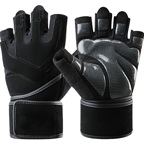 Fitness Gloves Men's Weightlifting Gloves Sports Gloves Non-slip Gloves Support Fitness Pressure Bracers Half Finger Gloves (Size : L (Suitable for palm width 20-23cm))