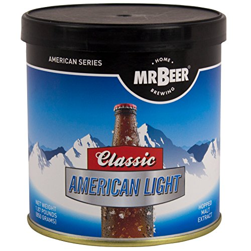 Mr. Beer Classic American Light 2 Gallon Homebrewing Craft Beer Making Refill Kit with Sanitizer, Yeast and All Grain Brewing Extract by Mr. Beer