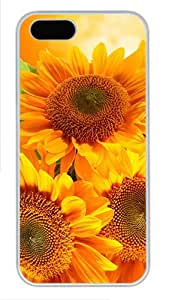 iPhone 5S Case and Cover -Golden Sunflowers Orange PC case Cover for iPhone 5 and iPhone 5s ?¡ìC White