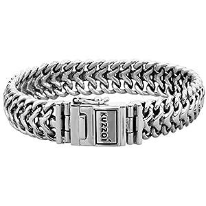 Kuzzoi 335108 Bracelet pour homme en argent sterling 925 massif gravé Bouddha 15 mm de large 60 g