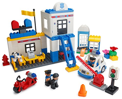 Play Build Police Station Building Blocks Set – 95 Pieces – Includes Police Department, Car, Motorcycle, Jail Cell, Police Officer & Robber Minifigures, Dog & Accessories (Christmas Story Police Station)