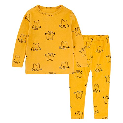 DaySeventh New Toddler Boy Girls Cotton Cute Print Tops T-Shirt Pants Set Pajama Sleepwear 2Pcs Set (12M, Yellow) (Zoey Quilt Set)