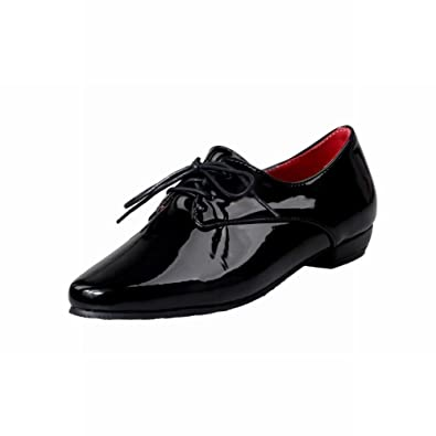 af03653ec508 Latasa Women s Fashion Synthetic Patent-Leather Pointed-Toe Lace up Chunky Oxford  Shoes (