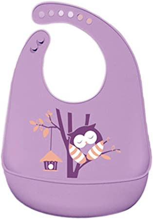 Cartoon Silicone Kids Bib Waterproof Newborn Baby Feeding Adjustable Apron UK