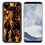 Luxlady Samsung Galaxy S8 Plus S8+ Aluminum Backplate Bumper Snap Case IMAGE ID: 23795496 Fire flames on black